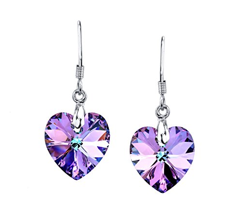 LUVAMI Vitrail Light Purple Crystal Heart Drop Dangle French Hook Earrings (Earring Heart Drop Set)