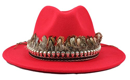 Simonetta Women's Wool Feel Wide Brim Floppy Fedora Hat with Removable Band.(ZYW94- A.Feather Red) Belt Style Leather Hat Bands
