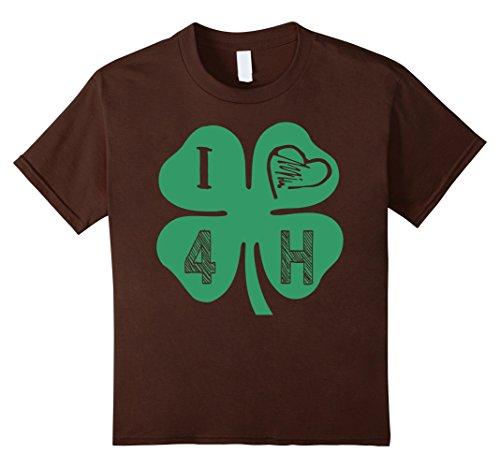 Kids 4H Apparel For 4-H Teammates - I Love 4-H Clover Heart Shirt 10 - Clover H 4