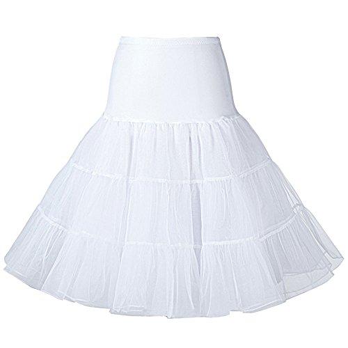 - Oyeahbridal Women Vintage 50s Tutu Skirts Petticoat Rockabilly Crinoline Underskirt, White, Small