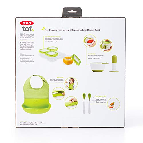 OXO Tot Mealtime Starter Value Set with Roll-up Bib, Feeding Spoons, Food Masher and Four 4oz Baby Blocks Freezer Storage Containers by OXO Tot (Image #7)