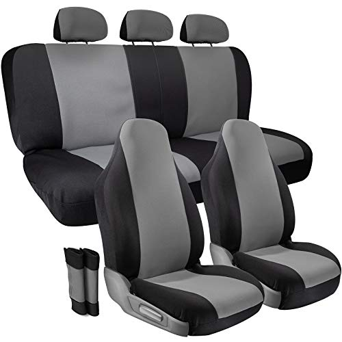 Classic Hubcaps Car - Car Seat Cover Protectors- Grip Control Non-Slip Poly Cloth Black and Gray Front Low Bucket and 50-50 or 60-40 Rear Split Bench Universal Fit for Automotive Cars, Trucks, SUVs, Vans- 10 Piece Full Set