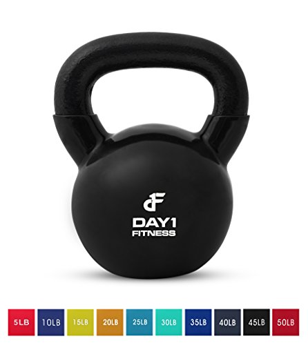 Day 1 Fitness Kettlebell Weights Vinyl Coated Iron 45 Pounds - Coated for Floor and Equipment Protection, Noise Reduction - Free Weights for Ballistic, Core, Weight Training