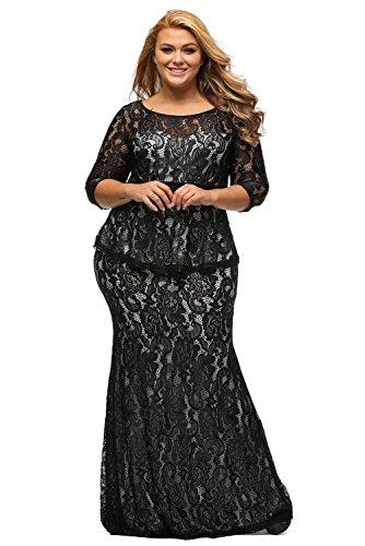 XAKALAKA Women's Scoop-Neck Floral Three-Quarter-Sleeve Long Gown Dress, Black, 0X Plus