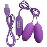 360MALL USB 電動マッサージ器 シングルタイプ遠隔操作 Gスポット刺激 20振動モード デュアル 強力振動 小型 防水 膣トレーニング バイブ 電マ バイブレーター 女性用 大人のおもちゃ パープル(USB供電式で電池いらず) (ダブル)