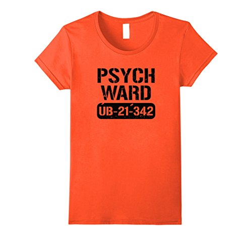 Womens Halloween Costume Prisoner Inmate Jail Psych Ward T-Shirt Small (Escape Halloween Costumes)