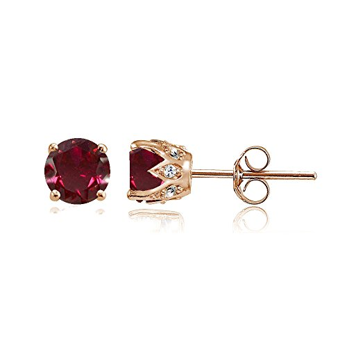 Rose Gold Flashed Sterling Silver Created Ruby and Cubic Zirconia Accents Crown Stud Earrings Rose Gold Ruby Earrings