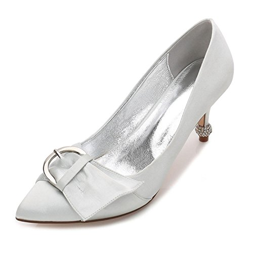 L@YC Women's Wedding Shoes F17767-26 Comfort Basic Pump Summer Satin Wedding Dress Party & Evening Ribbon Silver TDPxK3ApY