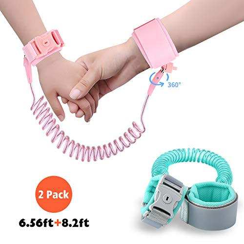 Flashbluer Anti Lost Wrist Link Safety Leash for Toddlers 2 Pack 6.56ft+8.2ft
