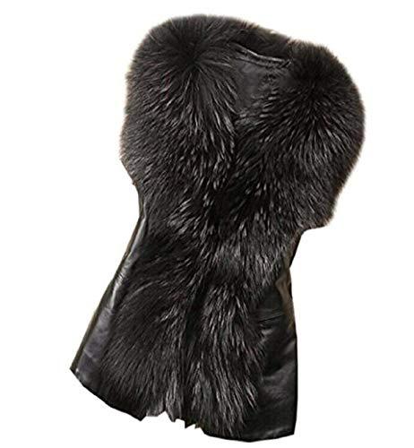 Outerwear Fashion Unico Eleganti Semplice Pelliccia Moda Schwarz Autunno Di Caldo Fit Corto Smanicato Giacche Slim Glamorous Invernali Pelle Giubbino Donna Giacca wOqf66
