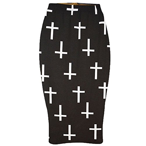 Skirt Plus Bodycon Cross Women Printed Janisramone Pencil Wiggle midi Stretchy P0Rn4xq