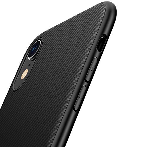 Yokase iPhoneXR ケース  炭素繊維TPU [高耐久性] [指紋防止] iPhoneXRカバー (6.1inch) - ブラック