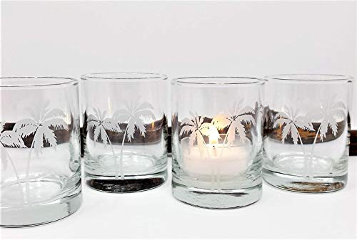 Palm Tree Candle Holders Beach Wedding Decor Votive Holders Engraved Set of 4 Favors