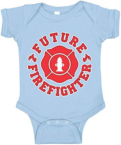 Amdesco Future Firefighter Infant Bodysuit, Light Blue 18 Month