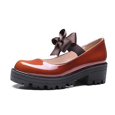 Cómodo y elegante soporte de zapatos de las mujeres pisos primavera verano otoño invierno otros cuero sintético oficina y carrera parte y vestido de noche con lazo y tacón bajo negro marrón rosa rojo rosa