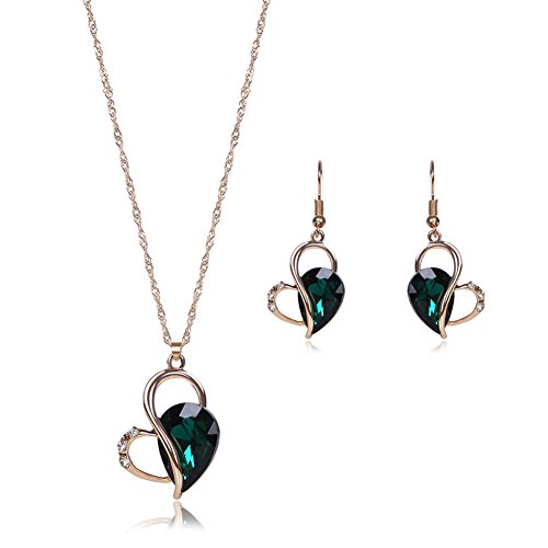 Fashion Heart Shape Gold Plated Crystal Necklace Earrings Wedding Jewelry Sets for Women