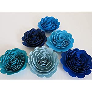 "6 Shades of Blue Paper Roses, 3"" Blossoms, Wedding Flowers, Bridal Shower Decor, Baby Nursery Decor, Event Planning Floral Decorations, Ocean Beach Theme, Always In Blossom 10"