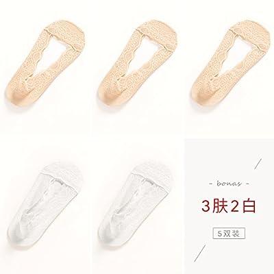 Maivasyy 5 paires de chaussettes printemps et d'été de dentelle Chaussettes Bateau antidérapant en Silicone Couvercle Anti-Hook antiglisse Invisible soie Chaussettes Femmes, 3 Peau 2 Blanc