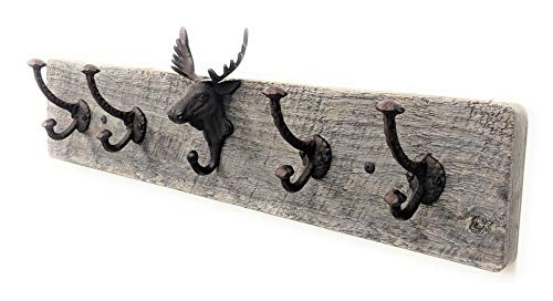 - Vintage Rustic Wall Mounted Coat Rack -Authentic Barn Wood Hanger for Towels, Clothes, Hats, Bags-Antique Door Wall Mount 5-Hook Rail (Moose with Rustic Cast Iron Hooks -26