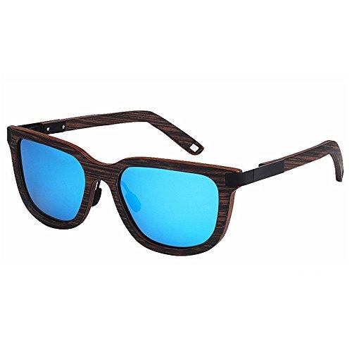 Ojos de vendimia de mano Retro de de que gato de conduce la madera hombres la Protección Gafas colorida ULTRAVIOLETA la los polarizadas pesca hechos Azul li aire al sol TAC sol a de lente de Gafas de Playa BITr7PB