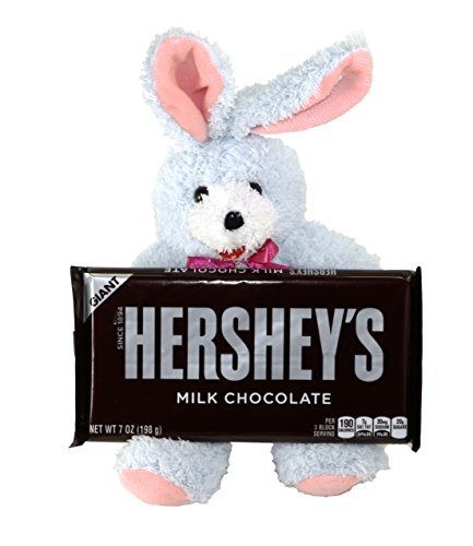 Colorful Bunny Rabbit Plush Stuffed Animal with Giant Hersheys Chocolate Candy Bar Gift Set Bundle - 2 items: Plush Toy and Candy Bar - Terry Cloth Chocolate