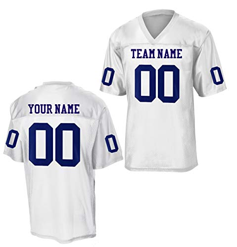 Custom Football Replica Team Jersey (Medium, White - Navy Blue Font)