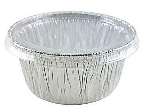 Handi-Foil of America 4 oz. Aluminum Foil Cup w/Clear Plastic Lid 50PK -Utility/Cupcake/Ramekin/Muffin (pack of 50)