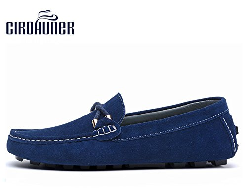 Driving Loafers Blue On Slip Casual Mens Royal Shoes CIROHUNER Suede qfn6YaxwZP