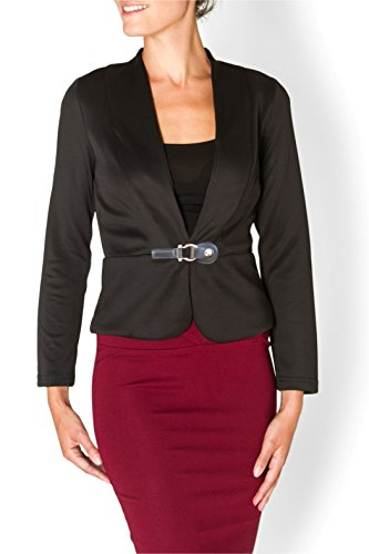 Buckle Front Jacket (Contenta Buckle front Women's Casual or Wear to Work Solid Color Knit Long Sleeve Blazer. Also Great for a night out. (medium, black))
