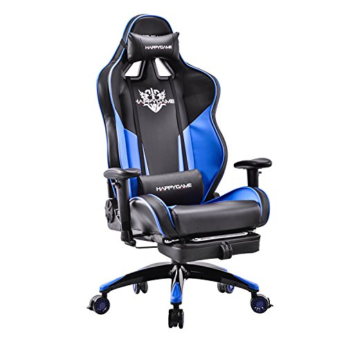 41sqJHI8K3L - HAPPYGAME-Racing-Style-Gaming-Chair-with-Adjustable-Tilt-Footrest-and-Lockable-Wheels-High-back-Leather-Executive-Computer-Office-Chair-with-Lumbar-Support-Headrest-BlackBlue