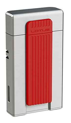 (NEW LOTUS L5630 AMBASSADOR TWIN TORCH CIGAR LIGHTER W/PUNCH - CHROME&RED)