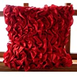 """Designer Red Euro Shams, 26""""x26"""" Euro Pillow Covers, Vintage Style Ruffles Shabby Chic Euro Pillow Shams, Satin Euro Sham, Solid Modern Euro Shams - Vintage Reds"""