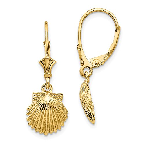 (14k Yellow Gold Scallop Sea Shell Mermaid Nautical Jewelry Leverback Earrings Lever Back Drop Dangle Animal Life Fine Jewelry Gifts For Women For Her)