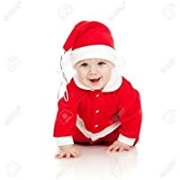 Om Tech Enterprises Christmas Santa Claus Fancy Dress Costume for 0 Size Babies 3 Month 6 Month Free Size New Born Baby