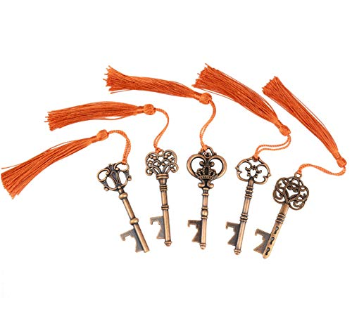 - Makhry 30x Wedding Favor Gift Set Mixed 15 Skeleton Key Bottle Opener with 15pcs Sikly Tassels for Classical Rustic Wedding Decoration (Antique Copper)