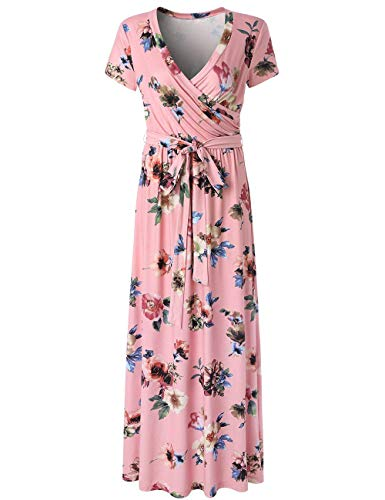 SEBOWEL Women's Casual Floral Print Wrap Waist Bow Belt A-line Long Maxi Dress Pink-M -