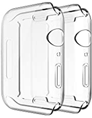 Simpeak Full Protector Case Compatible with iWatch 44mm,[2 Packs] [All-Around] Soft TPU Clear Touch Screen Protector Bumper Cover for 44mm iWatch Series 4,Series 5, Clear 2 Pack