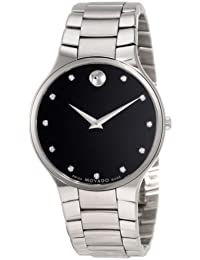 Mens 0606490 Serio Stainless Steel Black Diamond Marker Museum Dial Watch