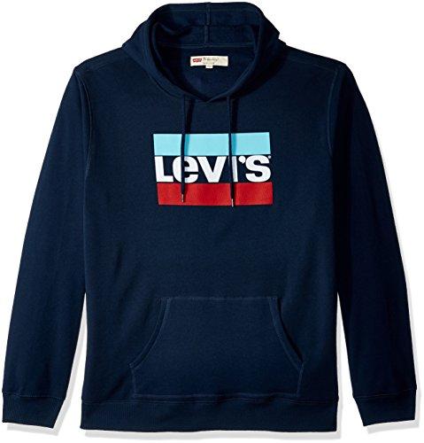 Blue Classic Sweatshirt Hoody Logo - Levi's Men's Classic Logo Hoodie, Dress Blue/Sportswear Logo, Small