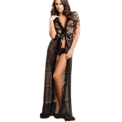 Women's Deep V Sexy Nightgown Translucent Sheer Robe Lace Long Nightdress G-string (Black Robe)