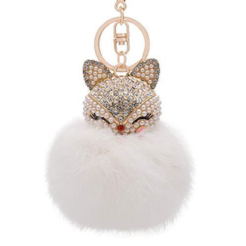Genuine Rabbit Fur Ball Pom Pom Keychain with Alloy Fox Head Inlay Pearl Rhinestone for Women Backpack Car Key Pendant Decoration (white)
