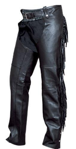 Ladies Heavy Duty Premium Buffalo Motorcycle Chaps fringed and round back with silver hardware.