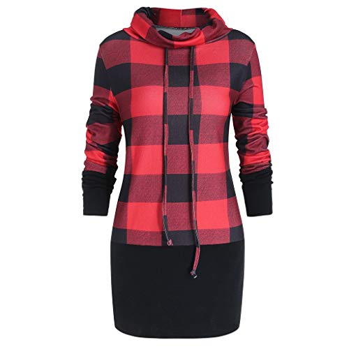 Women Plaid Print Bow Sweatshirt Pullover Cowl Neck Long Sleeve Tops Blouse
