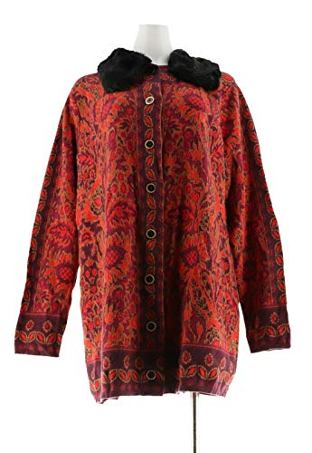 (Isaac Mizrahi Tapestry Sweater Coat Faux Fur Collar Lipstick Red XL New A281352)