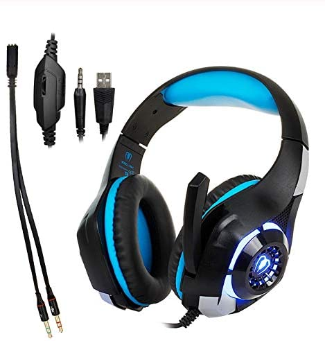 MeterMall Electronics Goods for 3.5mm Gaming Headphone Wired Earphone Gaming Headset Xbox One Headset with Microphone for PC Laptop Playstation 4 Phone Blue