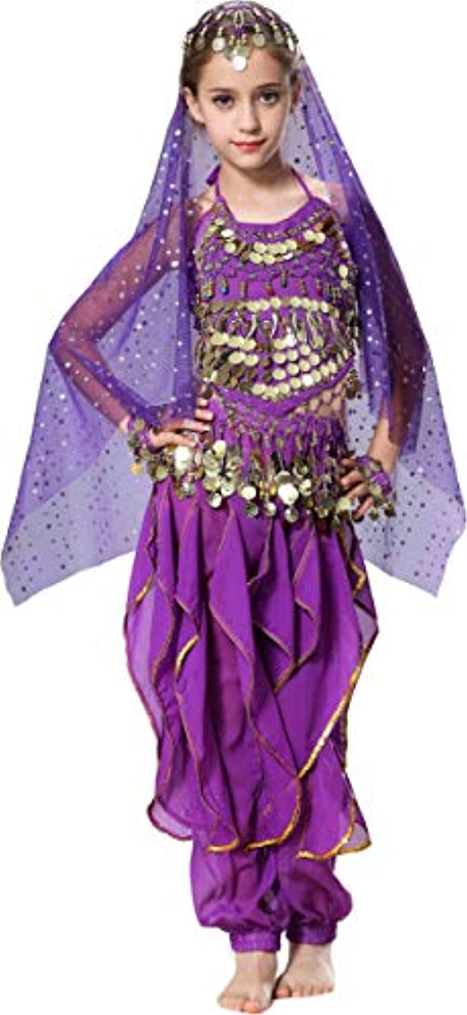 Seawhisper Girls Belly Dancer Costume Halloween Outfit for Kids