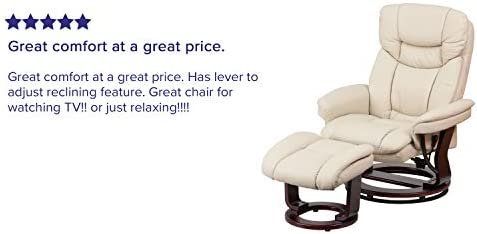home, kitchen, furniture, living room furniture,  chairs 9 picture Flash Furniture Recliner Chair with Ottoman | Beige LeatherSoft deals