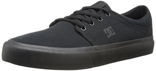 DC Men's Trase TX Skate Shoe, Black/Black/Black, 12 D M US - Mens Canvas Low Skate Shoe