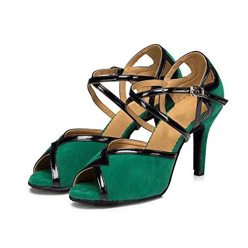 Boca Mujer Fondo Zapatos Alto Acogedor ll Tacon Blando Green6cm Whl De Cuadrados Adulto Sandalias Pescado Baile Salón 8qCwWP