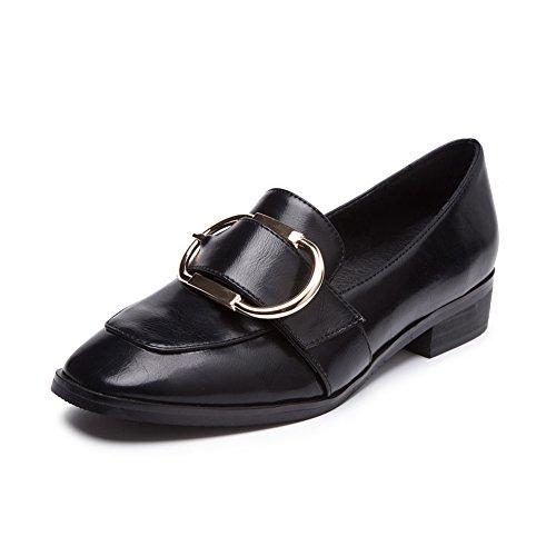 fereshte Women's Metal Buckle Flat Loafers School Work Dolly Pumps Shoes Black HySpO8ot7G